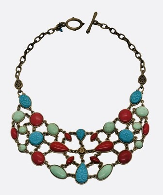 LUCKY BRAND Brushed Gold Multi Color Bead Statement Necklace
