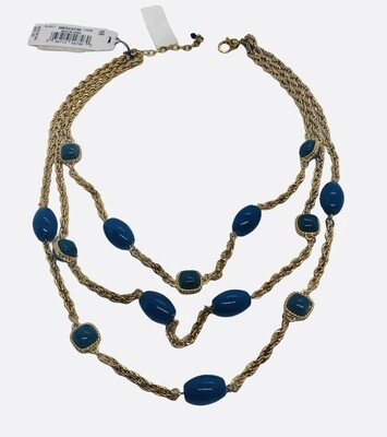 NEW NAPIER Gold Rope and Blue Stone Three Strand Necklace $49