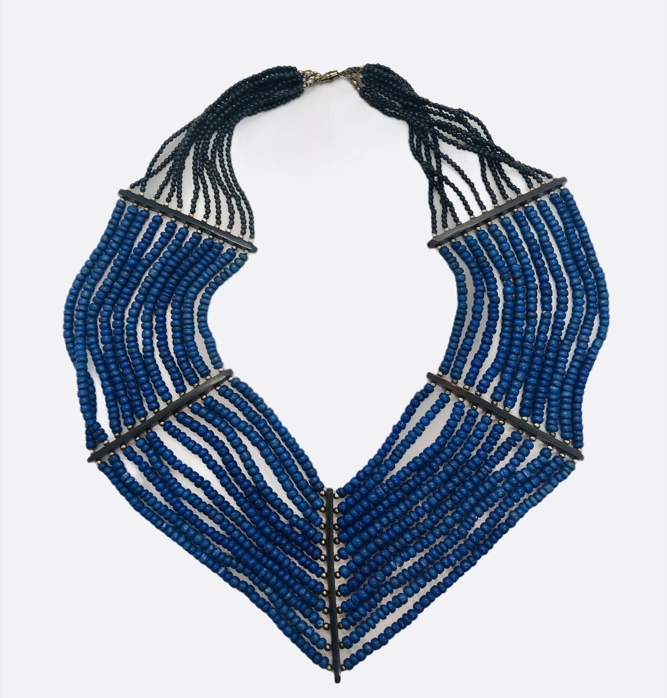 Blue & Black Bead Multi Strand Ethnic Necklace