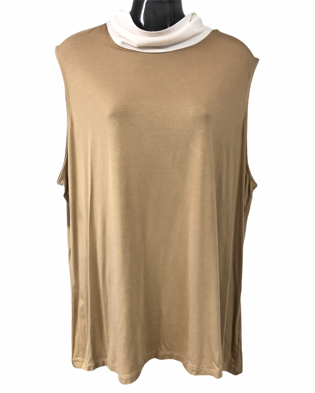 New LAUREN Tan & Pearl Sleeveless Back Tie Top size 3X $89