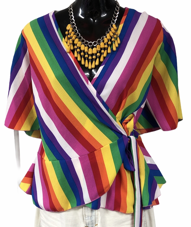 CHA CHA VENTE Multi Color Stripe Wrap Blouse size Large