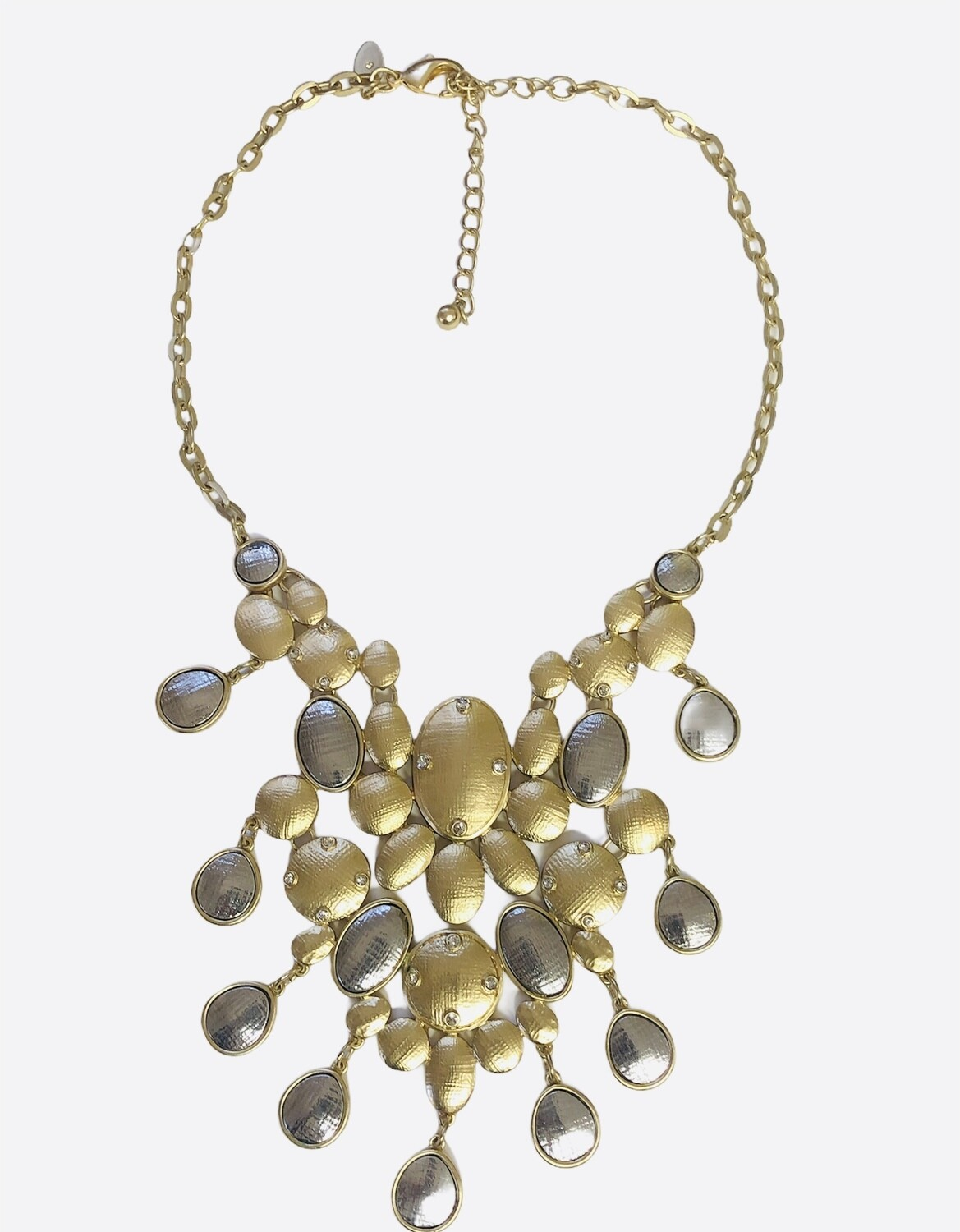 CHICO's Gold, Silver & Stone Chandelier Statement Necklace