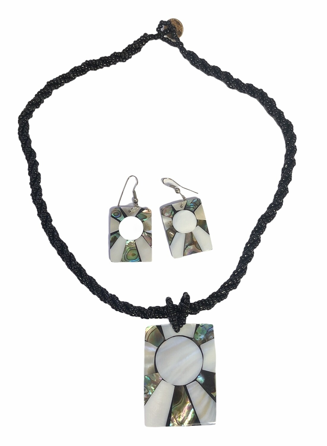 Black Stone & Mother of Pearl Necklace/Earring Set