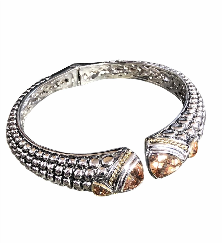 Silver & Gemstone Claw Style Bangle