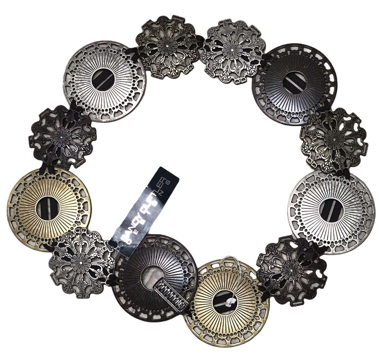 New Designer SANDY DUFTLER Tri-Color Medallion Belt M/L