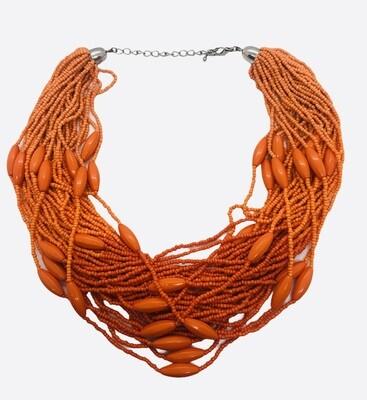 Orange Beaded Multi-Strand Statement Necklace