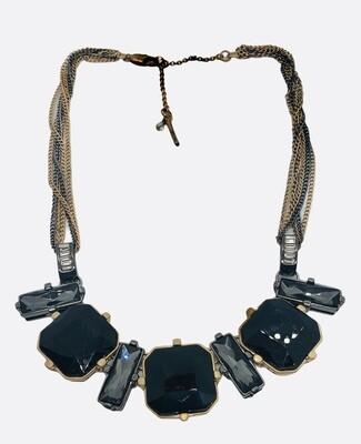 Kenneth Cole Black Gemstone Statement Necklace