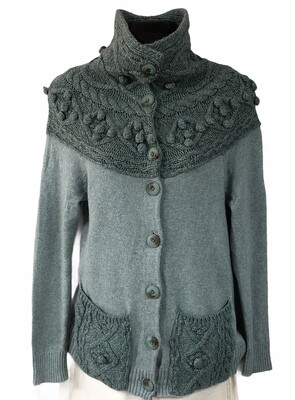 Anthropologie SLEEPING ON SNOW Hand Knit Accent Cardigan Sweater size Small
