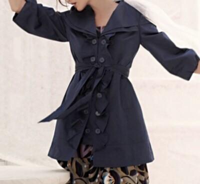 Anthropologie IDRA Navy Ruffle Jacket size 6