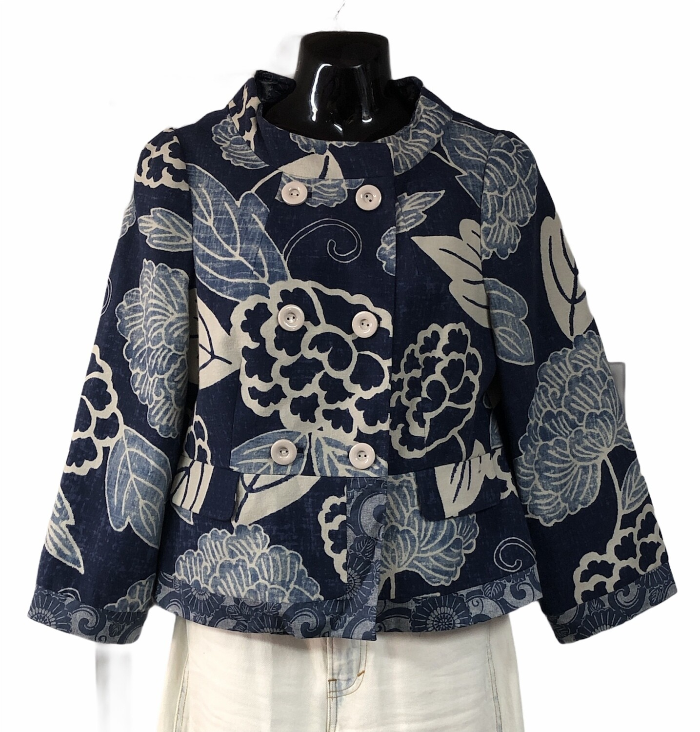 Anthropologie ELEVENSES Abstract Navy Floral Mandarin Style Jacket size 8