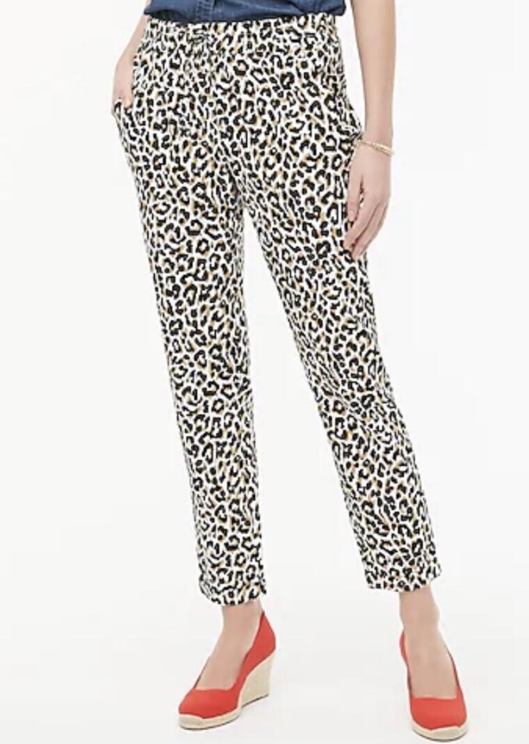 New J CREW Leopard Drawstring Linen Pants size 10 $59