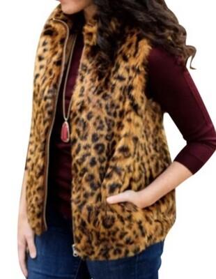 J CREW Leopard Faux Fur Vest size Small