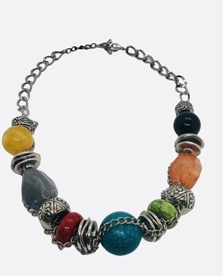 Multi-Color Chunky Chainlink Statement Necklace