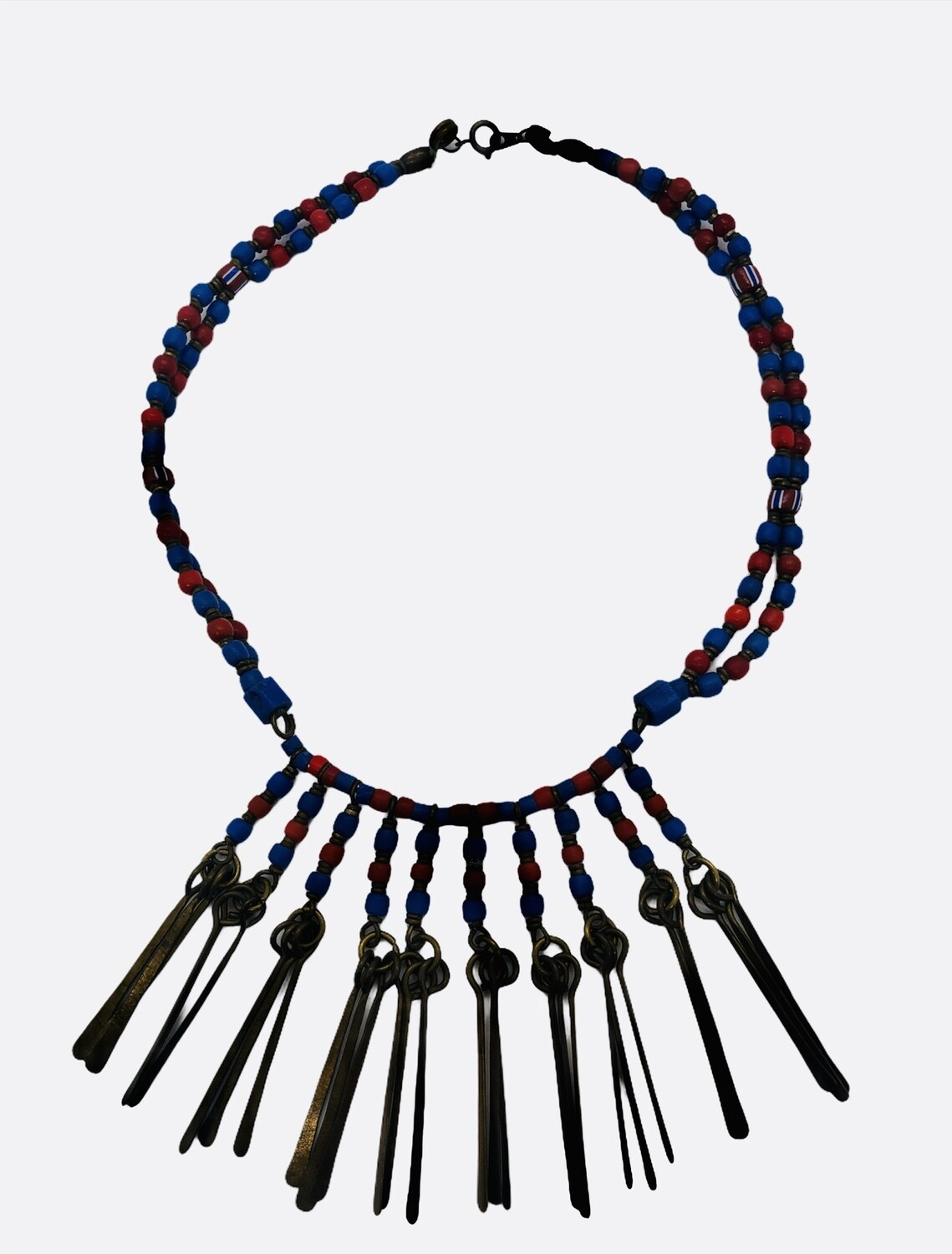 Blue & Red Hand Crafted Bead & Brass Artisan Necklace