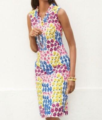 TALBOTS Vintage Floral Ruffle Sleeveless Shift Dress size 14