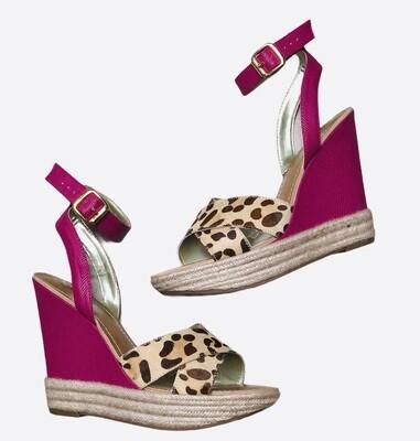 "New CARLOS Santana ""MELINDA"" Animal Print & Pink Wedge Sandals 10"