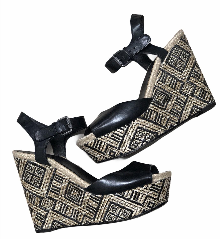 Designer VERA WANG Black Leather w/ Raffia Design Wedge Sandals 8 1/2