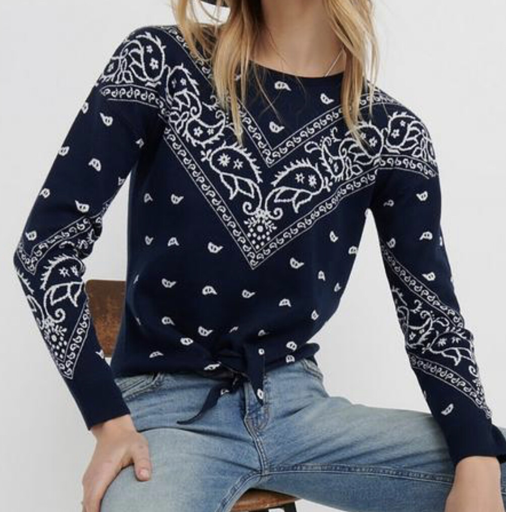 New LUCKY BRAND Bandana Intarsia Tie Front Knit Sweater size Small $79