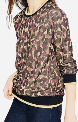 TRINA TURK Marita Intarsia Crewneck Animal  Print Knit Top XS