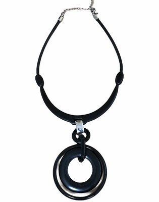 CHICOS Large Black Circular Ring Statement Necklace