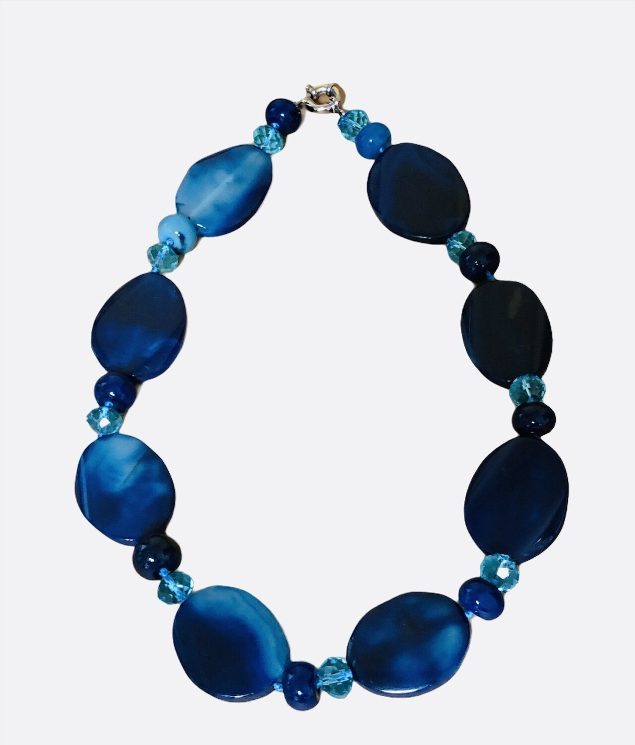 Hues of Blues Glass & Crystal Bead Necklace
