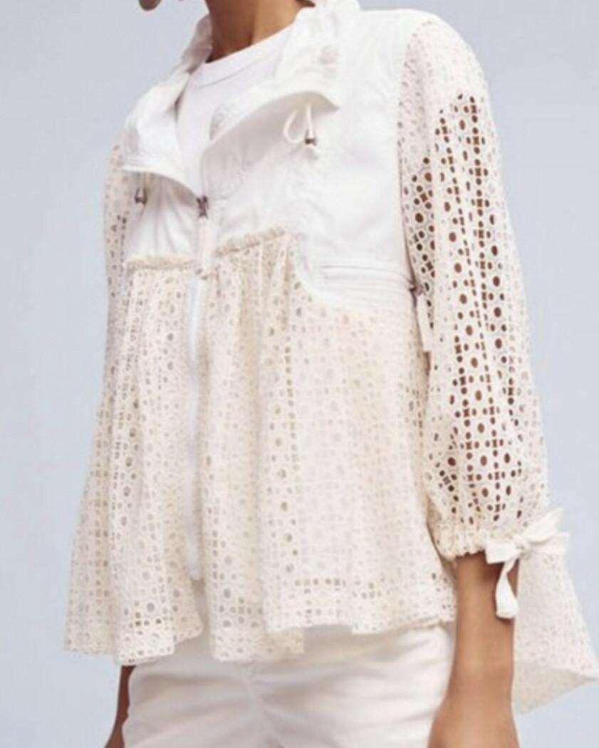 Anthropologie Hei Hei Ivory Eyelet Windbreaker Jacket size Large