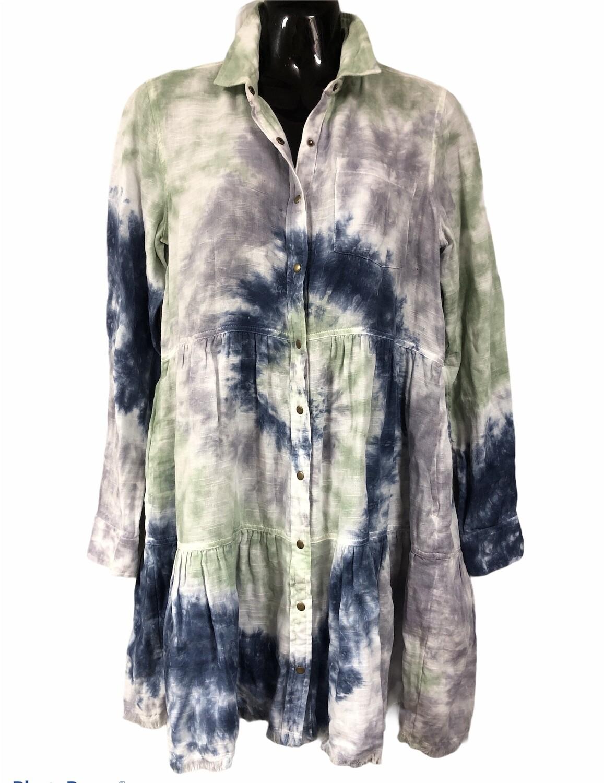 NEW TRUE CRAFT Tie Dye Peplum Snap Front Blouse/Mini Dress
