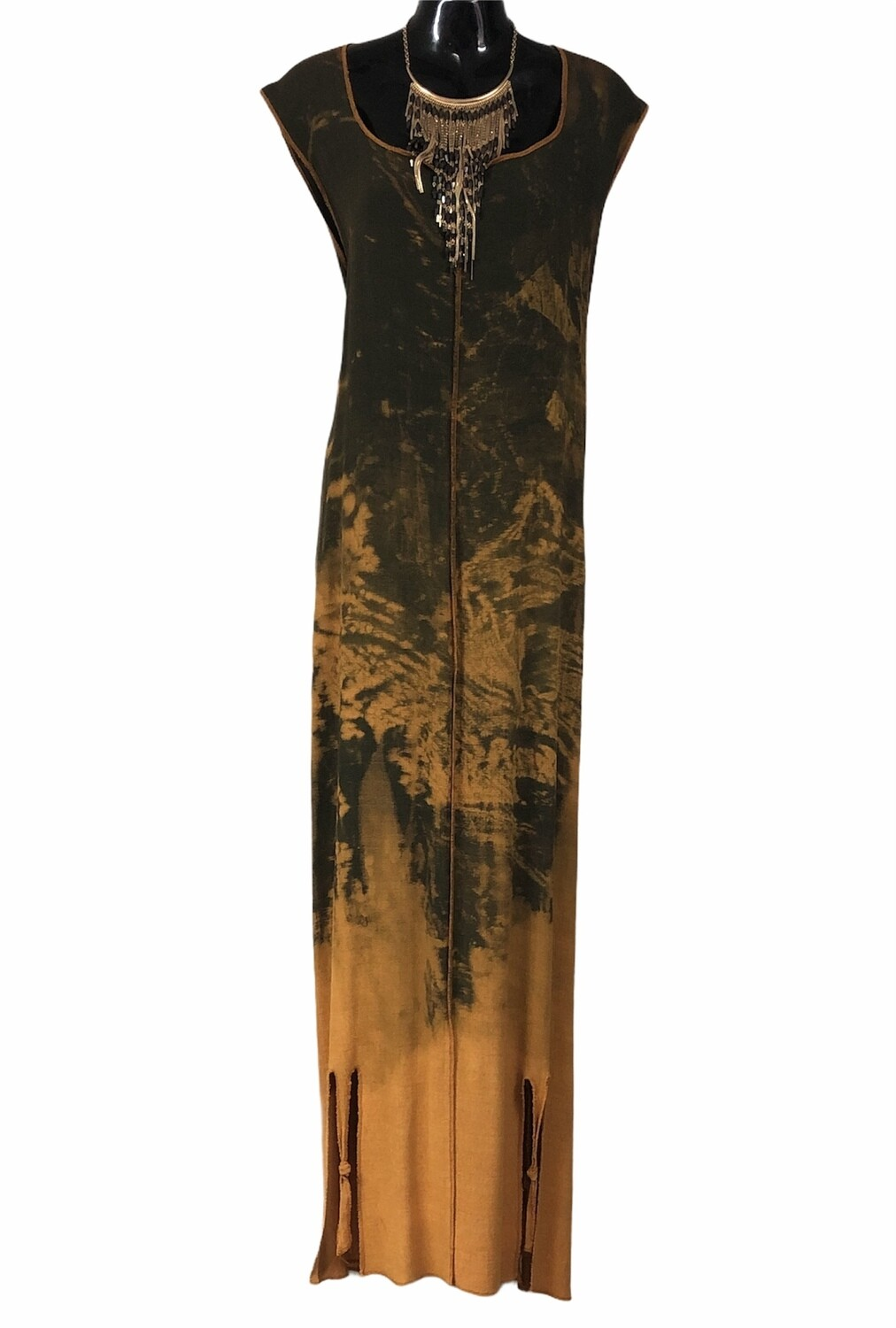 Beautiful Wearable Art Tie Dye Maxi Dress with Slit Hem XL