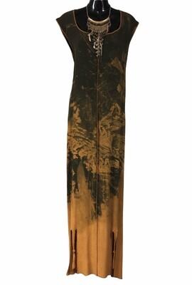 Beautiful Wearable Art Tie Dye Maxi Dress with Slit Hem XL