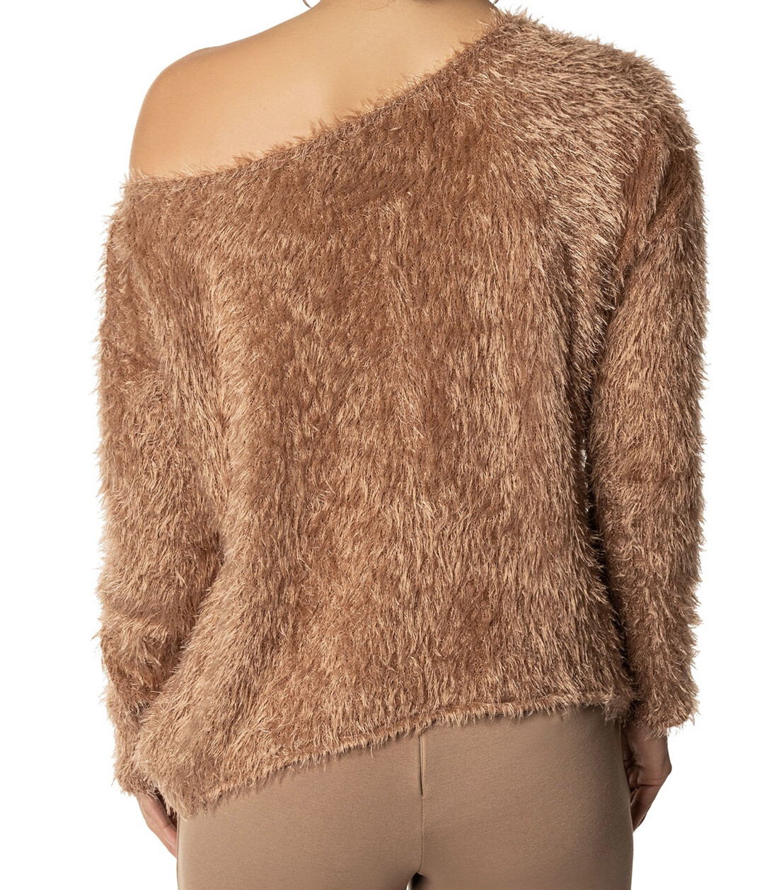 FKSP Taupe Cold Shoulder Style Furry Crop Sweater Small