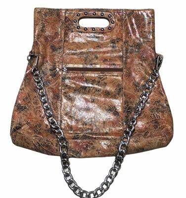 Paisley Print Embossed Leather Fold-over Handbag