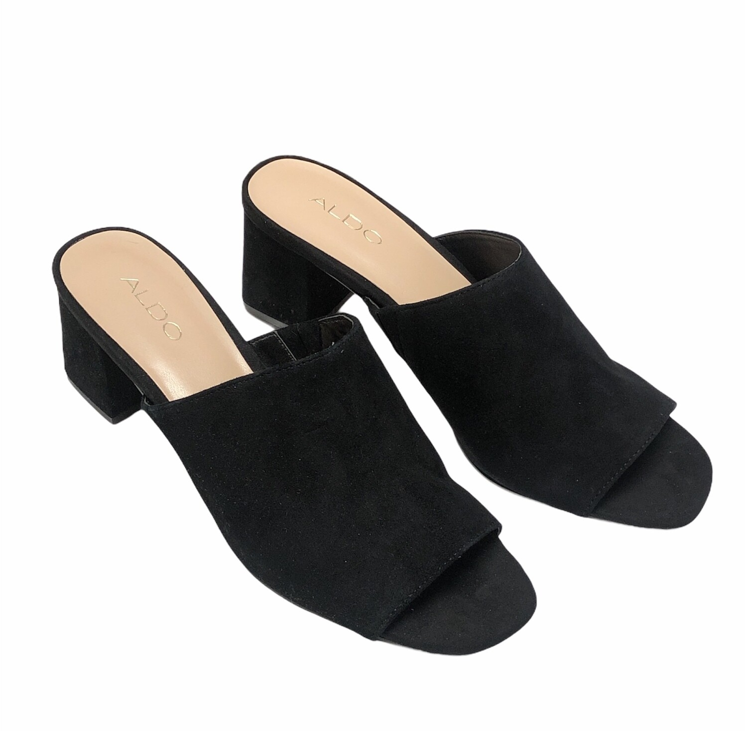 New ALDO Black Suede Chunky Heel Mules size 11