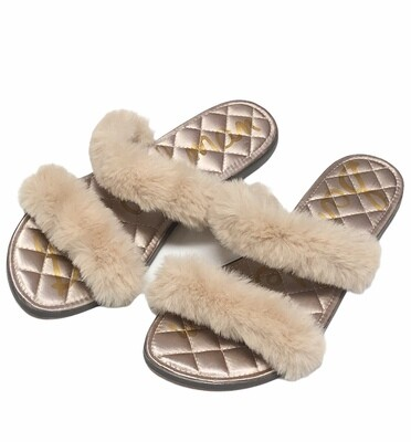 New SAM EDELMAN Faux Fur Strap Sandals size 8