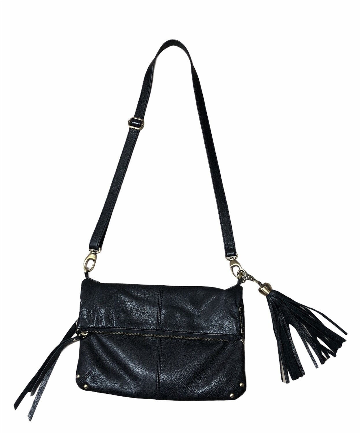 LUCKY BRAND Black Leather Fold-Over Crossbody Handbag
