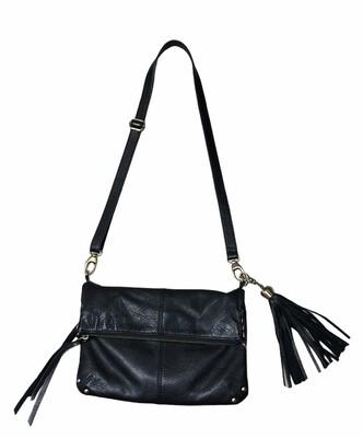 LUCKY BRAND Black Leather Fold-Over Crossbody Handbag