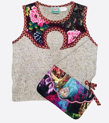 Vintage PRONTO Hong Kong Knit & Floral Aplique Sweater