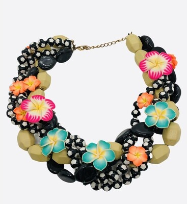 Multi Strand Floral Beaded Choker Statement Necklace