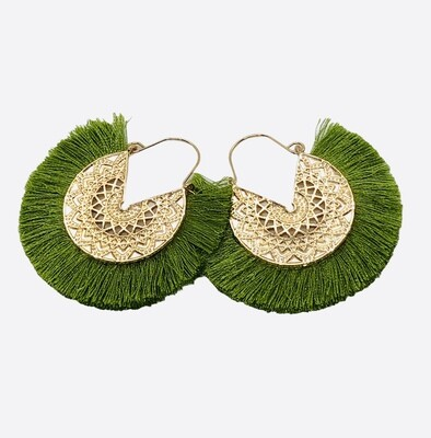 New Gold Filagree and Lime Green Fringe Earrings