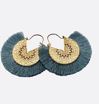 New Gold Filagree and Slate Blue Fringe Earrings