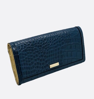 New KATE SPADE Deep Blue Croc Embossed Leather Wallet