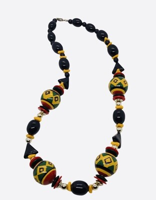 Multi Color Ethnic Bead Necklace