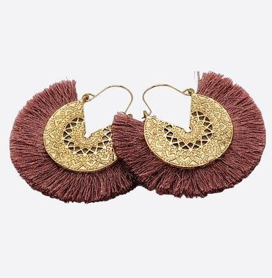 New Gold Filagree and Rose Pink Fringe Earrings