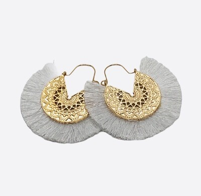 New Gold Filagree with White Fringe Earrings