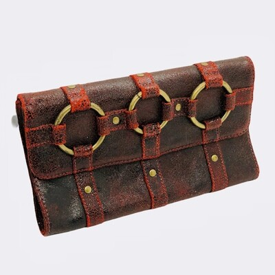 JASMINE Red Distressed Leather Clutch Bag