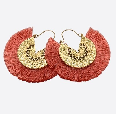 New Gold Filagree and Salmon Pink Fringe Earrings