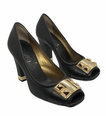 BCBG Black & Gold Peep Toe Heels size 9