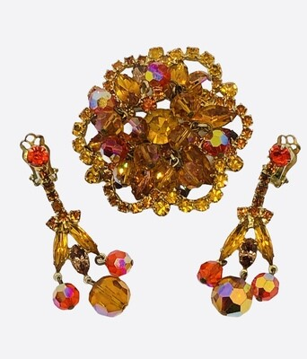 Vintage Amber Rhinestone & Glass Bead Brooch and Clip-On Earrings