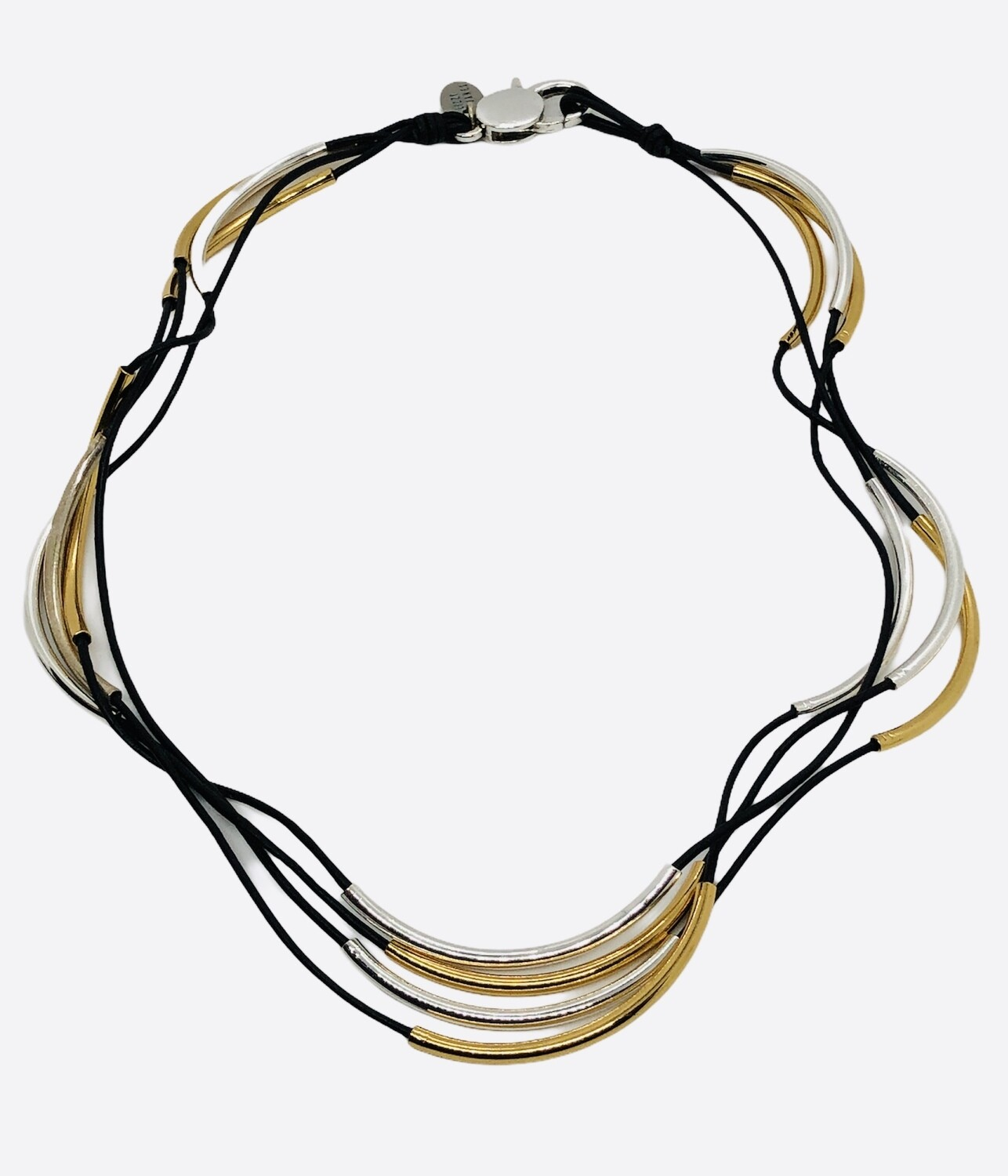 New Designer LIZZY JAMES Silver & Gold Accent Cord Necklace