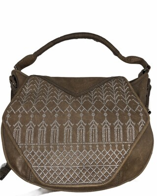 ISABELLA FIORE Cross Stitch Distressed Leather Saddle Bag