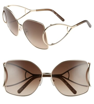 Designer CHLOE 63mm Wrapover Frame Sunglasses